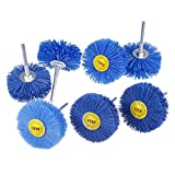 Mixiflor 7 Pack Abrasive Nylon Wheel Brush Grinding Head with 1/4' Shank, (80 120 180 240 320 400 600) Grit Perfect for Removal of Rust/Corrosion/Paint