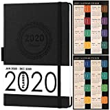 2020 Planner, Weekly/Monthly Planner, Saffiano Leather with Thick Paper, Back Pocket with 88 Notes Pages, 5.75' x 8.25'