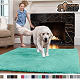 Gorilla Grip Original Faux-Chinchilla Rug, 3x5 Feet, Super Soft and Cozy High Pile Washable Carpet, Modern Rugs for Floor, Luxury Shag Carpets for Home, Nursery, Bed and Living Room, Turquoise