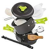 EXTSUD Kit de Casseroles Camping Légère 12pcs Ustensiles de Cuisine Portable pour Camping...