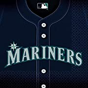 """36 Luncheon napkins Measures 6.5"""" x 6.5"""" Invite your fellow fans over to a table honoring your favorite team Matches our other items in the """"Seattle Mariners Major League Baseball"""" collection"""