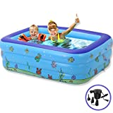 RENYD Rectangle Inflatable Swimming Pool for Kids Family with Pump Outdoor Baby Swimming Pool Inflatable Rectangle Cabana Backyard Swimming Pool Blue Swimming Pools Soft with Inflatable Pool(43 inch)