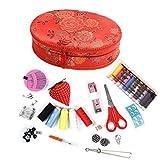 Hergon Caja de costura china festiva, juego de suministros de costura, tijeras, caja del tesoro del hogar (ovalado)