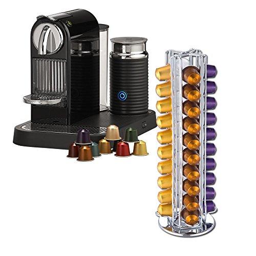 Meelio, portacapsule girevole, per 40 capsule Nespresso, colore: argento