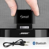 Smof Premium 30 Pin Bluetooth Adapter for Bose,Designed for iPod Bluetooth Adapter to Bose Sounddock, Bluetooth Audio AUX Output Receiver