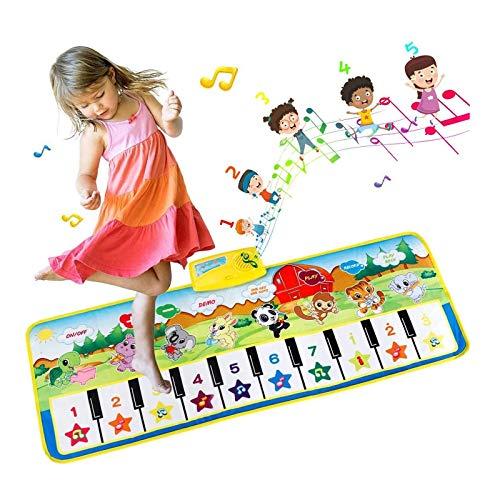 EXTSUD Tappeto Musicale Bambini Tastiera Pianoforte Musichette Giocattolo Educativo Tappetino da Gioco Volume Regolabile 100x36cm Piano Mat Stuoia Musica per Bambini