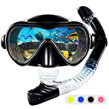 ZMteam Snorkel Set Snorkeling Gear Adults,Dry Top Diving Masks and Snorkel for Man Women, Easy-Breath Scuba Gear with Anti-Leak Anti-Fog Tempered Panoramic Glass for Diving, Swimming Black