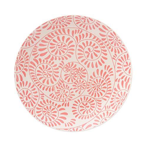 Piatto frutta Capri Girandola Rossa in stoneware, da 19,5 cm Bianco con decori rossi