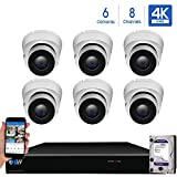 GW 8 Channel H.265 PoE NVR Ultra-HD 4K (3840x2160) Security Camera System with 6 x 4K (8MP) IP Dome Camera, 100ft Night Vision, Waterproof Surveillance Camera