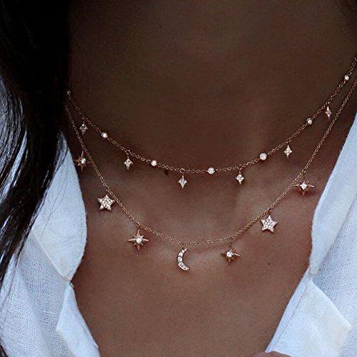wanmanee Nueva Cadena Multilayer Collar Gargantilla Estrella Luna Oro Mujeres Joyería Moda