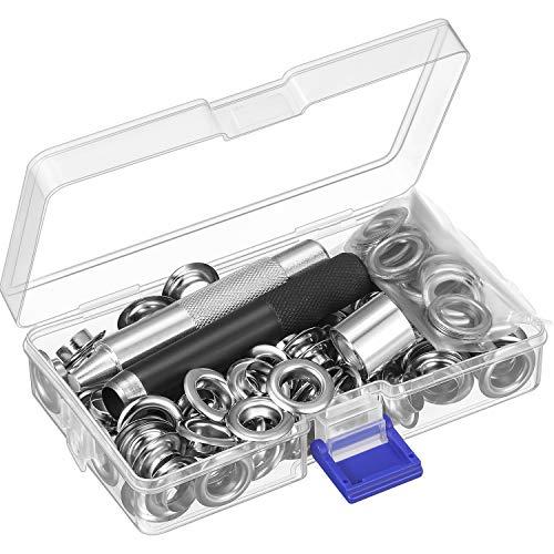 Occhiello Strumento Kit, Strumento Set Occhielli e 100 Set Occhielli Asola con Scatola di Stoccaggio (1/ 2 Pollici Diametro Interno)