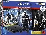 Inhalt: PlayStation4-System 1TB, DUALSHOCK4 Wireless-Controller , Mono-Headset, HDMI-Kabel, Netzkabel, USB-Kabel und Bedienungsanleitung und 3 ausgewählte Spiele