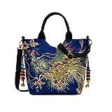Bolso de hombro para mujer, hecho a mano, bordado, estilo étnico, bohemio, estilo retro, bolso de alta capacidad