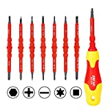 SDC Magnetic Screwdriver Set, Insulated Multi Screw Driver Kit, with 14 Ultra-Strong Interchangeable Tips (3 Phillips, 3 Slotted, 4 Torx, 2 Square, 2 Hex)