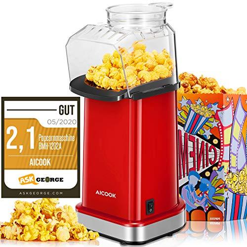Popcornmaschine 1400W, Aicook™ Automatische Popcorn Maker Machine für Zuhause, Weit-Kaliber-Design inkl. Messlöffel, Heissluft Ohne Fett Fettfrei Ölfrei, BPA-Freie Popcorn Popper, Klassisch