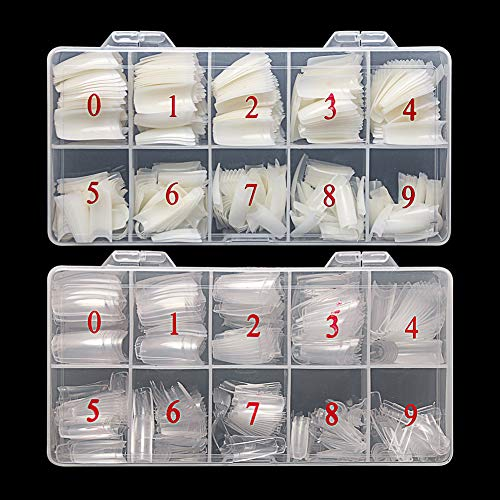 Feugole French Nail Tips Acrylic Flake Nails Half Cover 1000PCS Artificial False Nails Half Tips & Box for DIY Nail Art