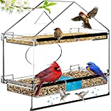 Window Bird Feeders,Large Bird Feeders for Outside with 2 Sliding Seed Trays, Wild Bird Feeders with...