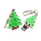 16GB Metal Forma del arbol de Navidad USB 2.0 Flash Drive Pen Drive Memory Stick USB Stick USB Flash Disk USB Thumb Drive Disco USB Stick U Disco pendrive (Verde)