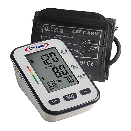 Caremax Blood Pressure Monitor with Upper Arm Cuff and Extra Large Digital Screen, BP Machine Fits Standard and Large Arms, FDA and CE Approved