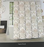 Tahari Home Cognac Damask Medallion Fabric Shower Curtain