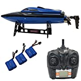 Blomiky H100 2.4GHz 4CH 20MPH High Speed Racing RC Boat Waterproof Remote Control Boat Extra 2 Battery TKKJ H100 Ship Blue
