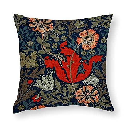 Federa decorativa per cuscino con William Morris Compton, 45 x 45 cm, in cotone, con cerniera nascosta, super morbida, per divano, letto, ufficio, auto