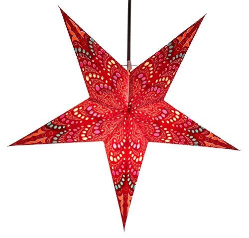 Guru-Shop Estrella de Adviento Plegable de Papel Starlight, Estrella de Navidad Sibelius - Rojo, 60x60x20 cm, Estrellas de Papel - Multicolor