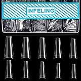 Clear Coffin Nail Tips - Clear Acrylic Nail Tips, 500pcs Clear Ballerina Nail Tips, Half Cover False Nails Fake Nail Tips with Box, INFELING Clear French Nail Tips for Nail Salons Home, 10 Sizes