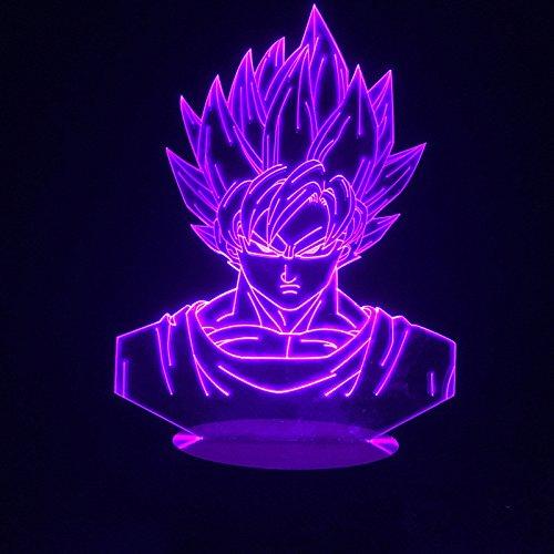 3D-Illusions-Nachtlichter, Dragon Ball Z, Goku-Nachtlampe, USB-LEDs, Touch-Steuerung für Zuhause,...