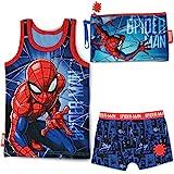 BONNYCO Pijama Niño y Neceser Pequeño Spiderman - Conjunto de Pijama con Camiseta de Tirantes y...