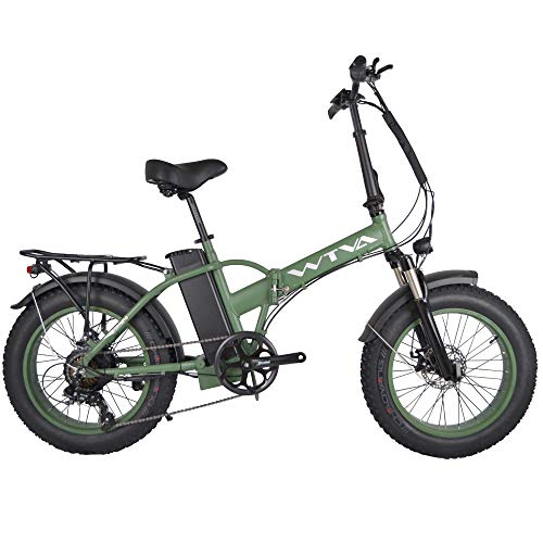 Product Image 6: Adult Electric Bike, 20 Inch Fat Tire Folding Electric Bicycles 48V 750W Motor 13AH Lithium-Ion Battery, Beach Snow Hunting City 7 Speed Cycling E-Bikes for Women Men (Green)