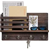 Dahey Wall Mounted Mail Holder Wooden Mail Sorter Organizer with 4 Double Key Hooks and A Floating...