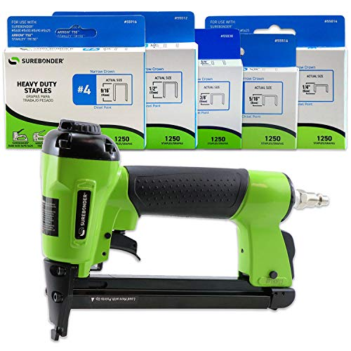 Surebonder 9600AK Pneumatic Heavy Duty Standard T-50 Type Stapler Kit, 1/4-Inch - 9/16-Inch, 7-Piece