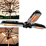 Patio Electric Heater Umbrella Folding Garden Waterproof Outdoor Heaters Infrared Space Heater for Pergola Or Gazabo Parasol with 3 Heating Panels