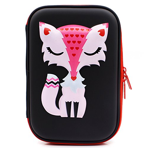 Elegante Fox Hardtop Pencil Holder cute EVA Pencil Case con grande capacit per studenti bambini Nero