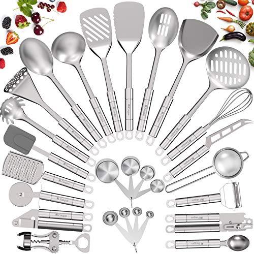 Product Image 1: Stainless Steel Kitchen Utensil Set- Fungun 28 Pcs Cooking Utensils - Nonstick Kitchen Utensils <a href=