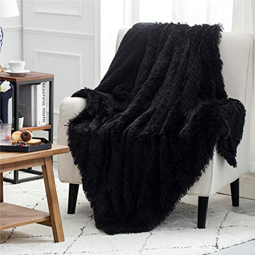 Bedsure Faux Fur King(108x90) Reversible Sherpa Fluffy King Blanket for Sofa, Couch and Bed - Super Soft Fuzzy Fleece Blanket for Outdoor, Indoor, Camping, Gifts (108x90 inches, Black)