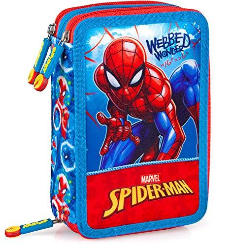 Spiderman - Astuccio Scuola 3 Zip Originale Completo di 44 Pezzi