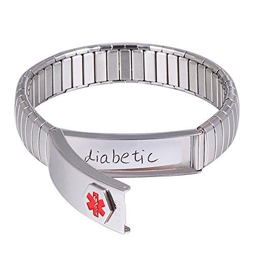 YINOX Wollet Jewellery Medical Alert Bracelet for Men Womens Ladies ID Bangle Elastic Stainless Steel Personalised (Put Details in Lift up Section, Customized Medical Card+Strips Free)