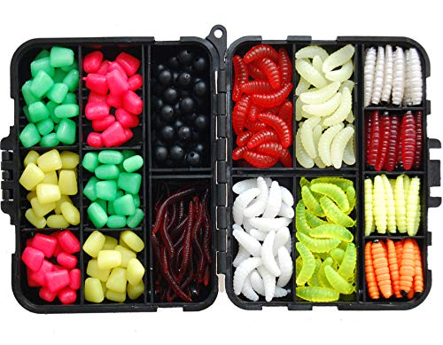 JSHANMEI  220PCS/Box Carp Fishing Tackle Box Artificial Plastic Fake Baits Sweetcorn/Beads/Worm Lures Imitation Baits Carp Fishing Gear Kit by JSHANMEI