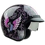 Vega Helmets X390 Retro Open Face Motorcycle Helmet w/Sunshield Unisex-Adult powersports (Lethal Angel, Small)