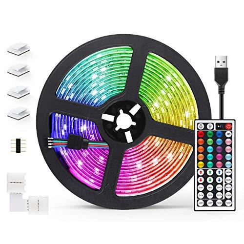 Striscia LED 5M AGPTEK Strisce LED RGB 5050 Luci Colorate con Telecomando,20 Colori 8 Modalit di Luminosit Luce LED Decorativa per Soggiorno, Sala da Pranzo,Cucina,Natale,Bar,Halloween e Feste