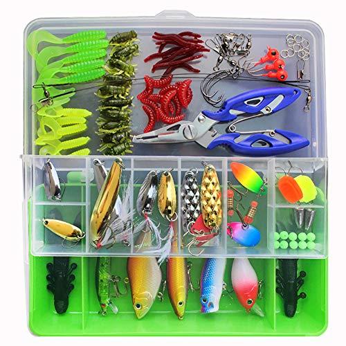 SKYSPER Set da Pesca, 101PCS Kit Esche Artificiali con Ami Accessori Pesca Multiuso Pesca di Mare
