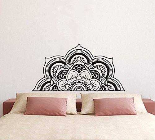 Wall Decal Half Mandala Headboard Wall Sticker Yoga Boho Indian OM Mandala Flower Wall Sticker Art Living Room Interior Bed Decor Sticker Mural Y022 (57x109cm, Black)