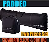 Athletico Padded Two-Piece Snowboard and Boot Bag Combo | Store & Transport Snowboard Up to 165 cm and Boots Up to Size 13 | Includes 1 Padded Snowboard Bag & 1 Padded Boot Bag