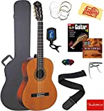 Oscar Schmidt OC9-A-U Classical Guitar - Natural Catalpa Bundle with Case, Strings, Tuner, Strap, Picks, Instructional Book, DVD, Capo, and Austin Bazaar Polishing Cloth