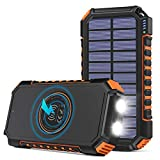 Wireless Solar Charger 26800mAh, Riapow Portable Charger with 4 Outputs & LED Flashlight, External...
