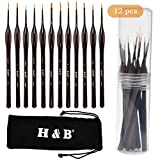 ATPWONZ 12 Pcs Micro Detail Paint Brushes Set, Professional Miniature Painting brushes with Ergonomic Triangular Handle for Fine Miniature Painting & Rock Painting Acrylic, Oil, Watercolor, Art, Scale