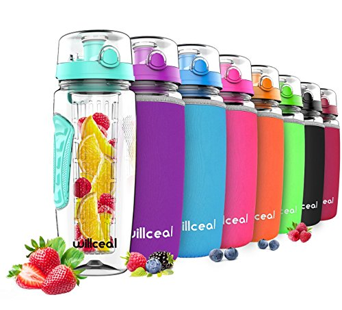 willceal Botella de Agua con Tapa para infusiones de Frutas,