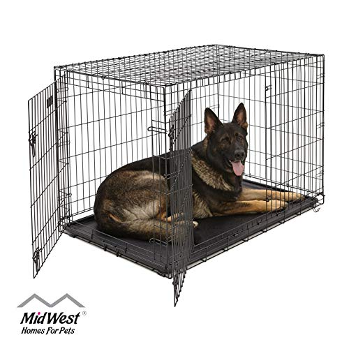 XL Dog Crate | MidWest ICrate Double Door Folding Metal Dog...